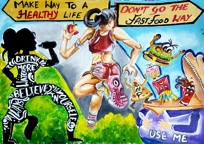it gives a message to take road to a healthy lifestyle and avoid and easy fast food way because this is the demand of coming time and generations
